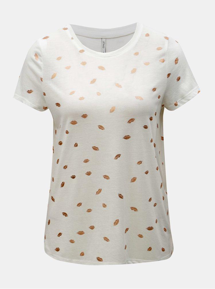 Bílé tričko s potiskem ONLY Isabella