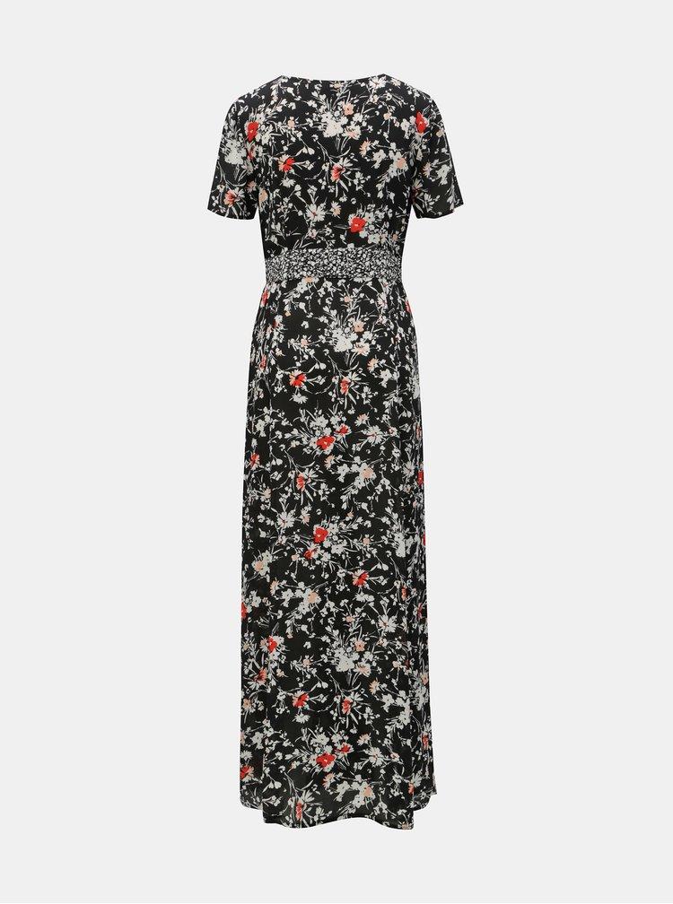 Rochie maxi neagra florala cu franjuri Miss Selfridge