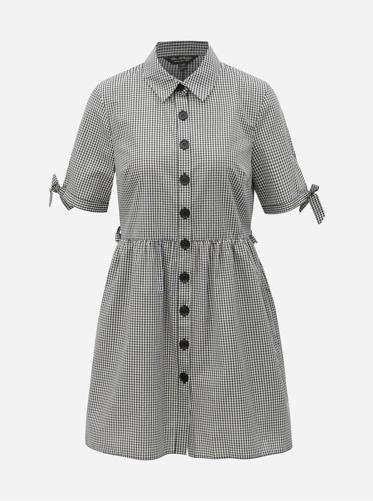 Bílo-černé kostkované košilové šaty Miss Selfridge