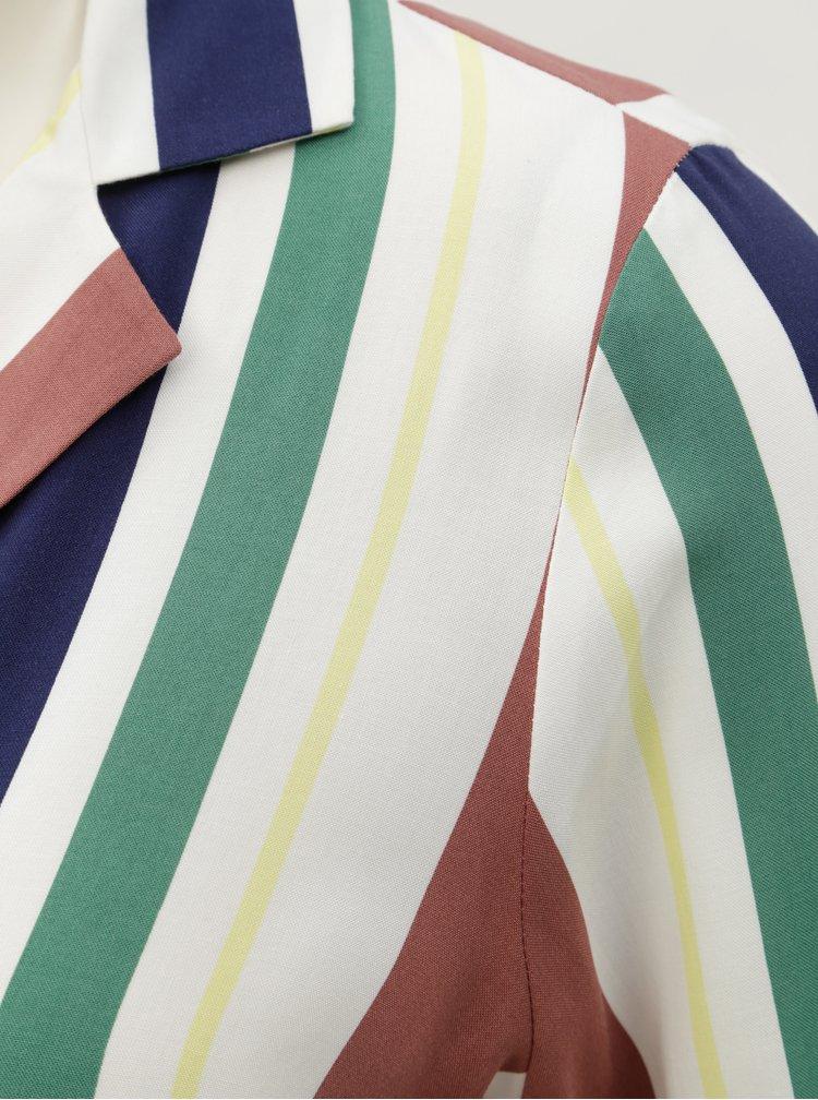 Hnedo–krémová pruhovaná krátka blúzka Miss Selfridge Petites