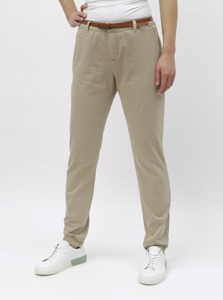 Béžové chino nohavice s opaskom VERO MODA Flash