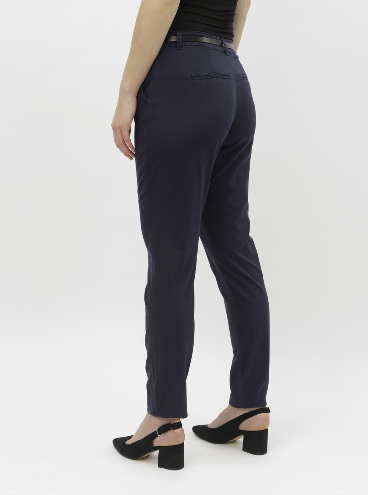 Tmavě modré chino kalhoy s páskem VERO MODA Flash
