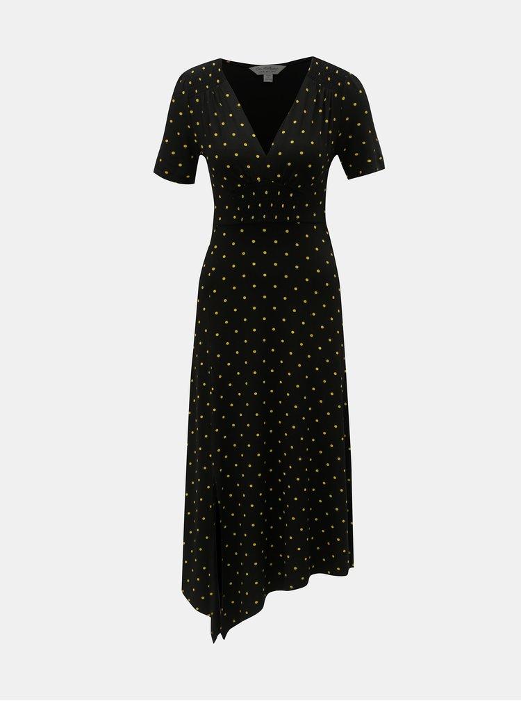 Čierne asymetrické midišaty Miss Selfridge
