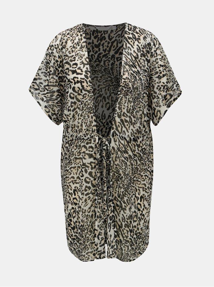 Černo-béžový plážový kaftan s leopardím vzorem Dorothy Perkins