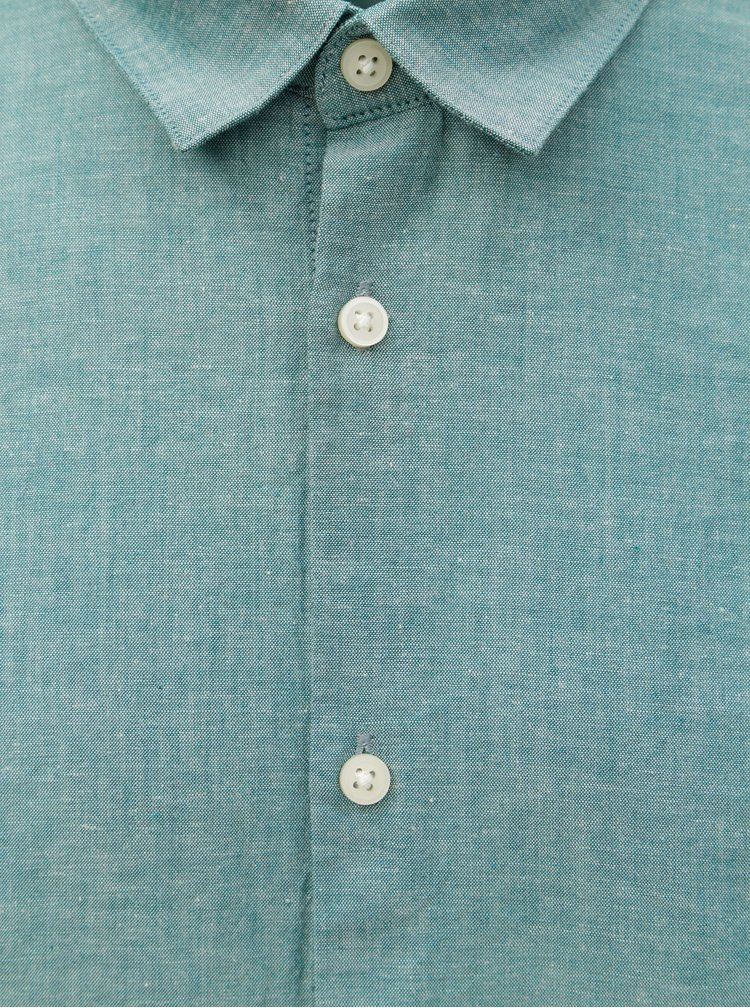 Camasa verde deschis melanj slim fit cu amestec de lana Selected Homme Linen