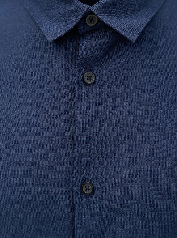 Tmavě modrá slim fit košile s příměsí lnu Selected Homme Linen