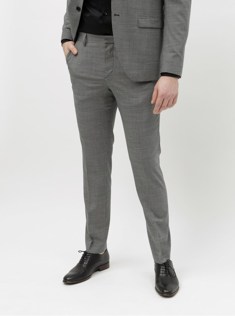 Pantaloni formali gri in carouri cu amestec de lana Selected Homme Buffalnoah