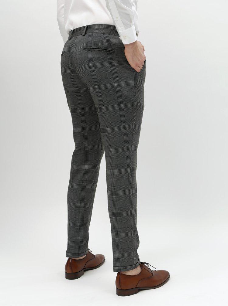 Pantaloni gri in carouri skinny Selected Homme Jersey