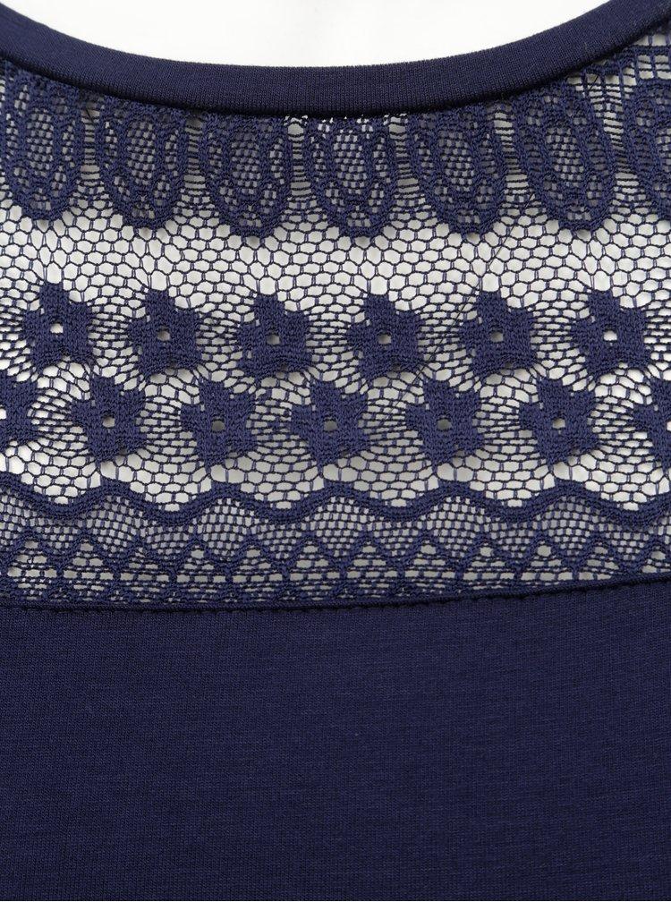Tricou albastru inchis cu dantela Dorothy Perkins Curve