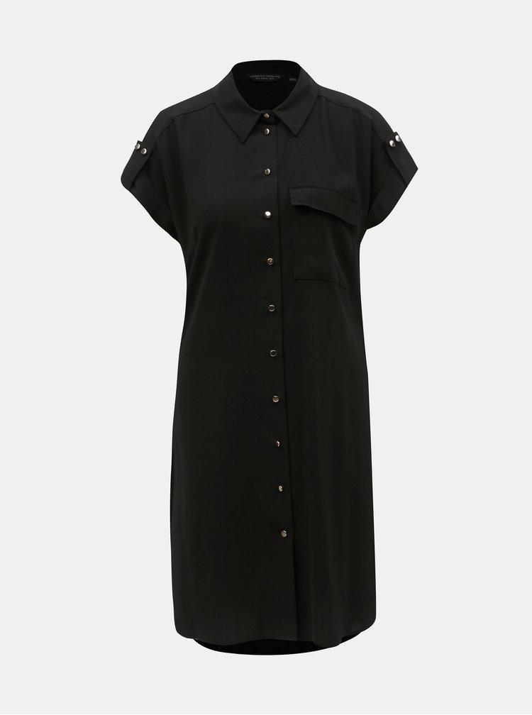 Černé košilové šaty s páskem Dorothy Perkins