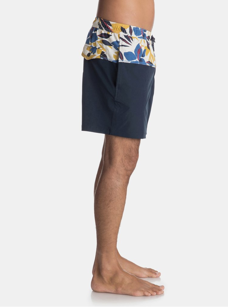 Tmavomodré pánske plavky s kvetovanou potlačou Quiksilver