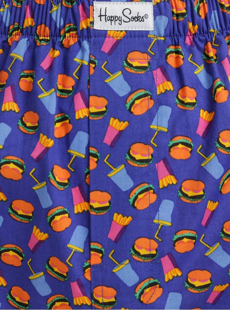 Modré trenýrky s motivem Happy Socks Hamburger