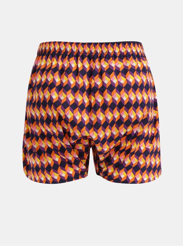 Oranžovo–fialové trenírky Happy Socks Optic Square