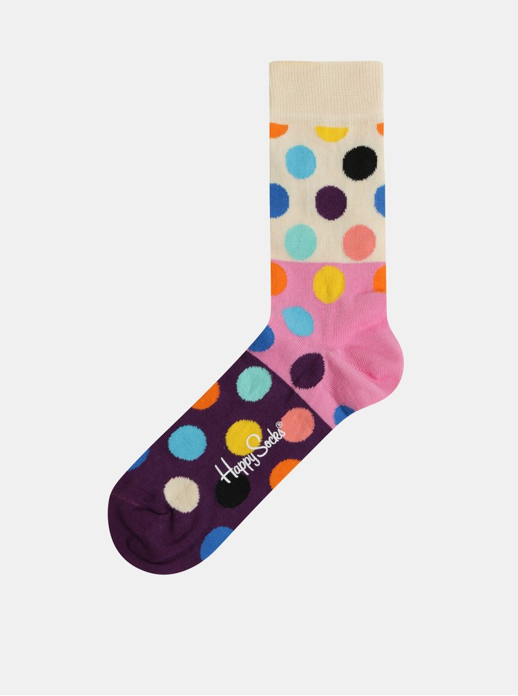 Sosete roz-crem cu buline de dama Happy Socks Big Dot