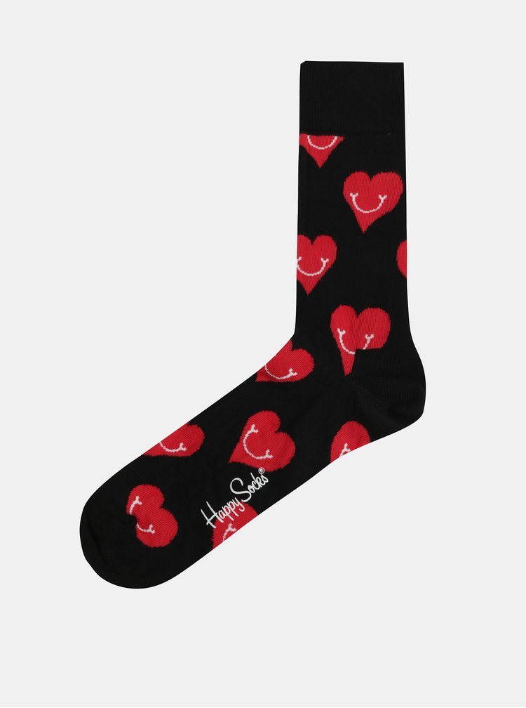 Sosete negre cu motiv inimi Happy Socks Smiley Heart
