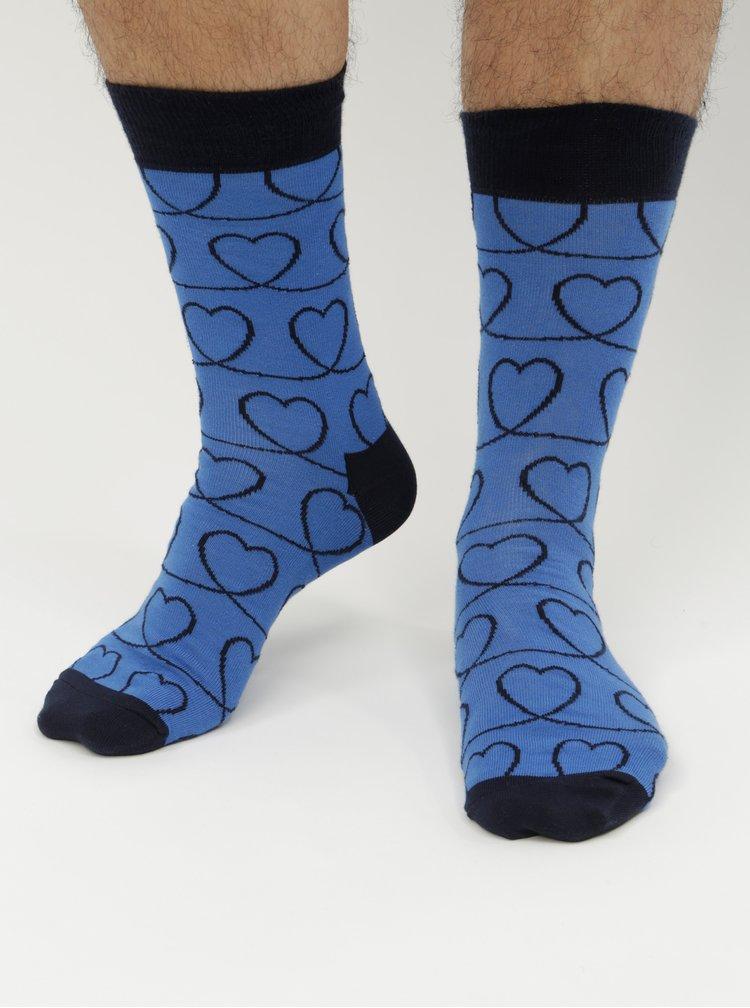 Sosete albastre cu motiv inimi Happy Socks Loveline