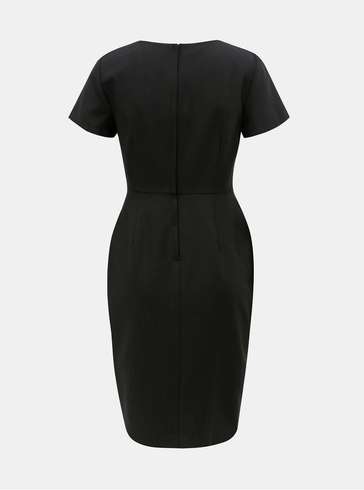 Černé šaty s překládaným výstřihem Dorothy Perkins Petite