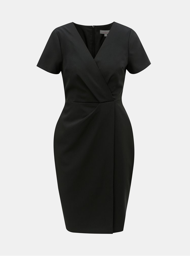 Čierne šaty s prekladaným výstrihom Dorothy Perkins Petite