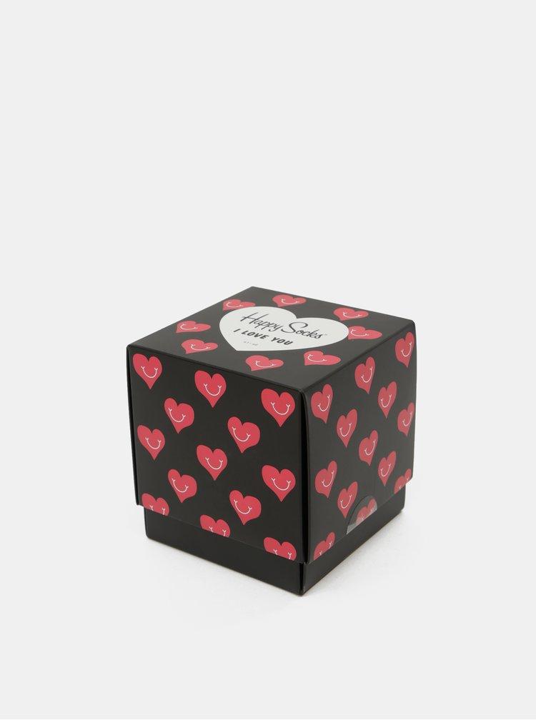Set de 3 perechi de sosete rosu-negru Happy Socks I love you