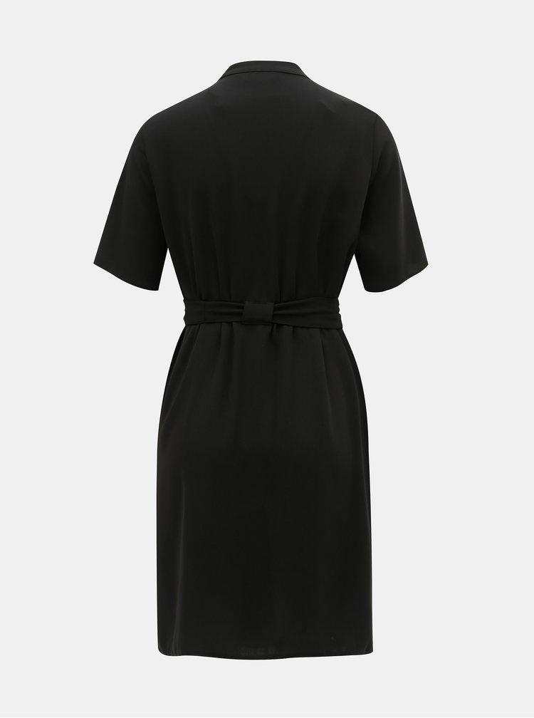 Čierne košeľové šaty s opaskom Dorothy Perkins