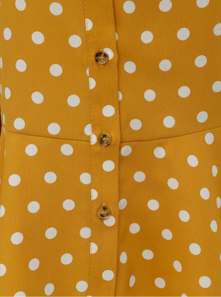 Hořčicová puntíkovaná halenka Dorothy Perkins
