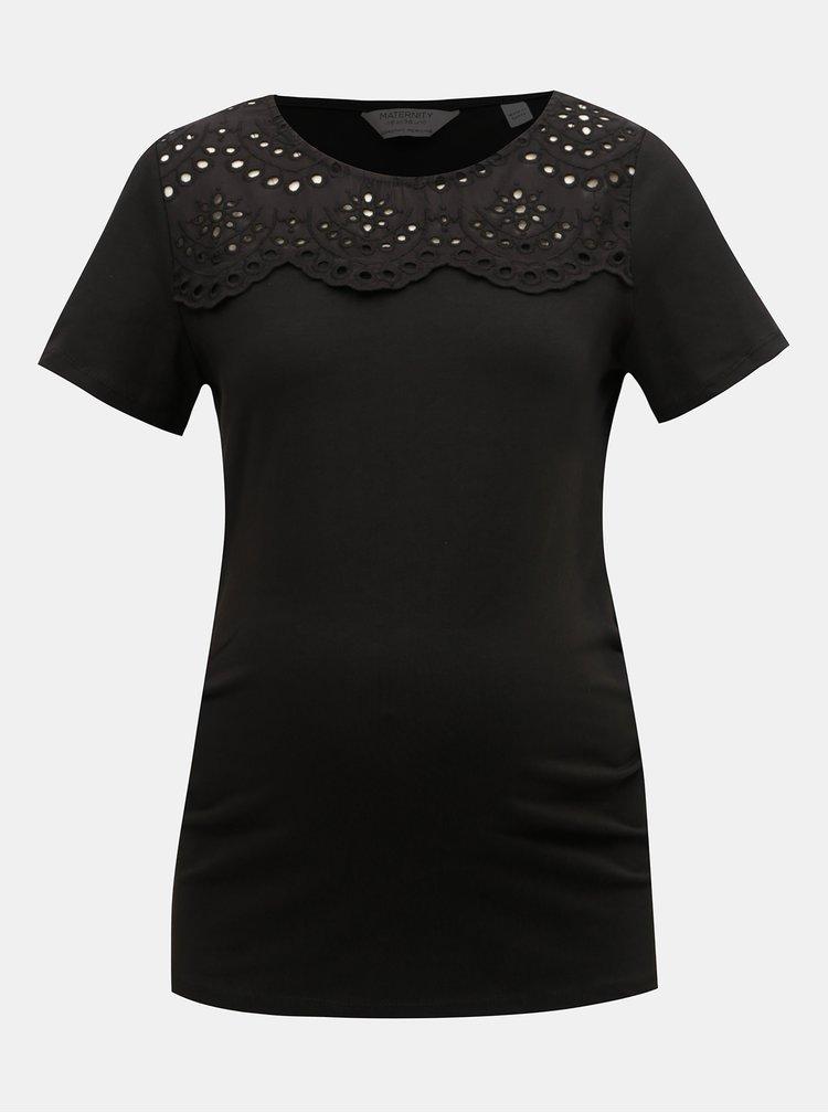 Černé těhotenské tričko s madeirou Dorothy Perkins Maternity