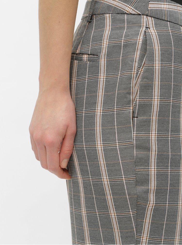 Sivé straight kockované nohavice Dorothy Perkins