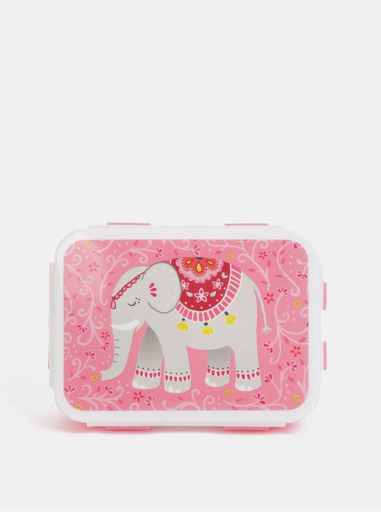 Růžový svačinový box s motivem slona Sass&Belle Mandala Elephant