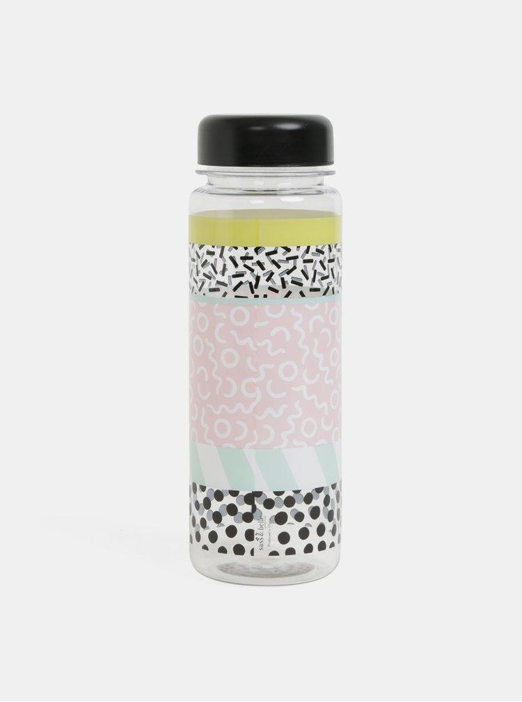 Růžovo-černá láhev na vodu s motivem Sass&Belle Memphis Modern