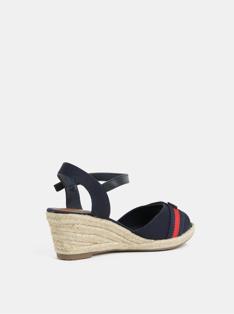 Tmavě modré sandálky na klínku Tom Tailor