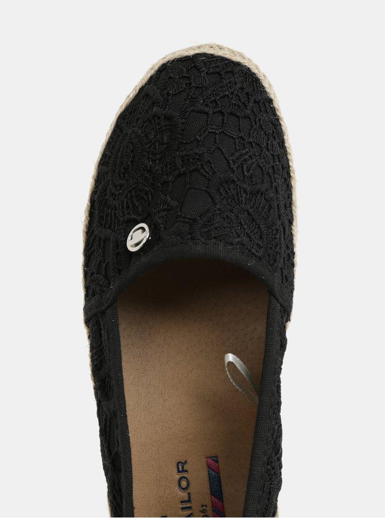 Čierne dámske čipkované espadrilky Tom Tailor