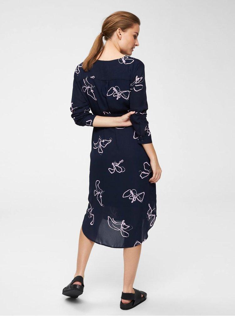 Tmavě modré vzorované košilové šaty Selected Femme Dynella