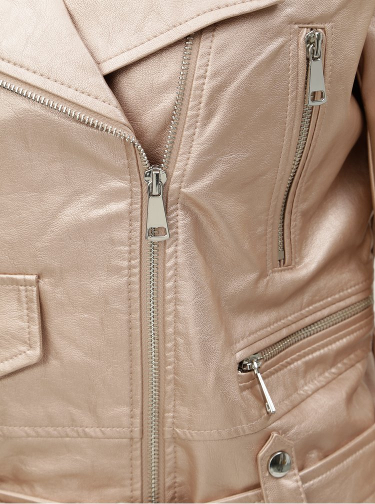 Svetloružová koženková bunda s metalickými odleskami TALLY WEiJL Damar