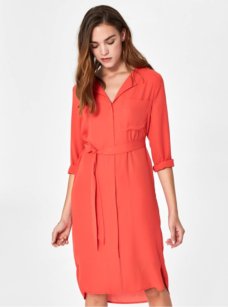 Červené košeľové šaty Selected Femme Dynella