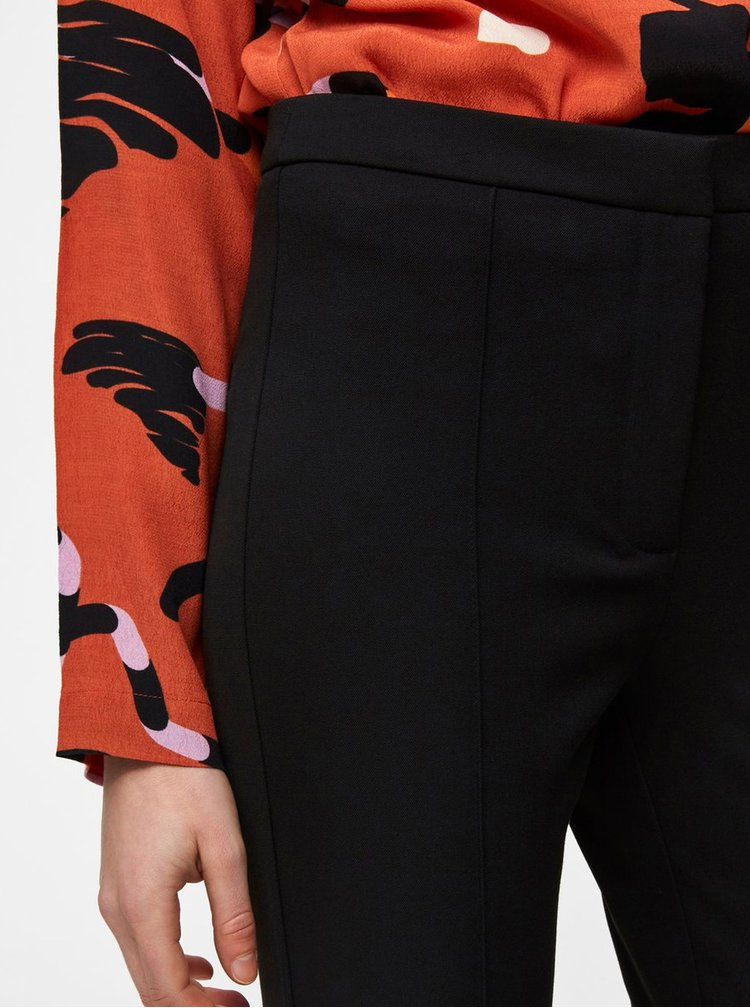 Pantaloni plisati negri pana la glezne cu talie inalta Selected Femme Ilue