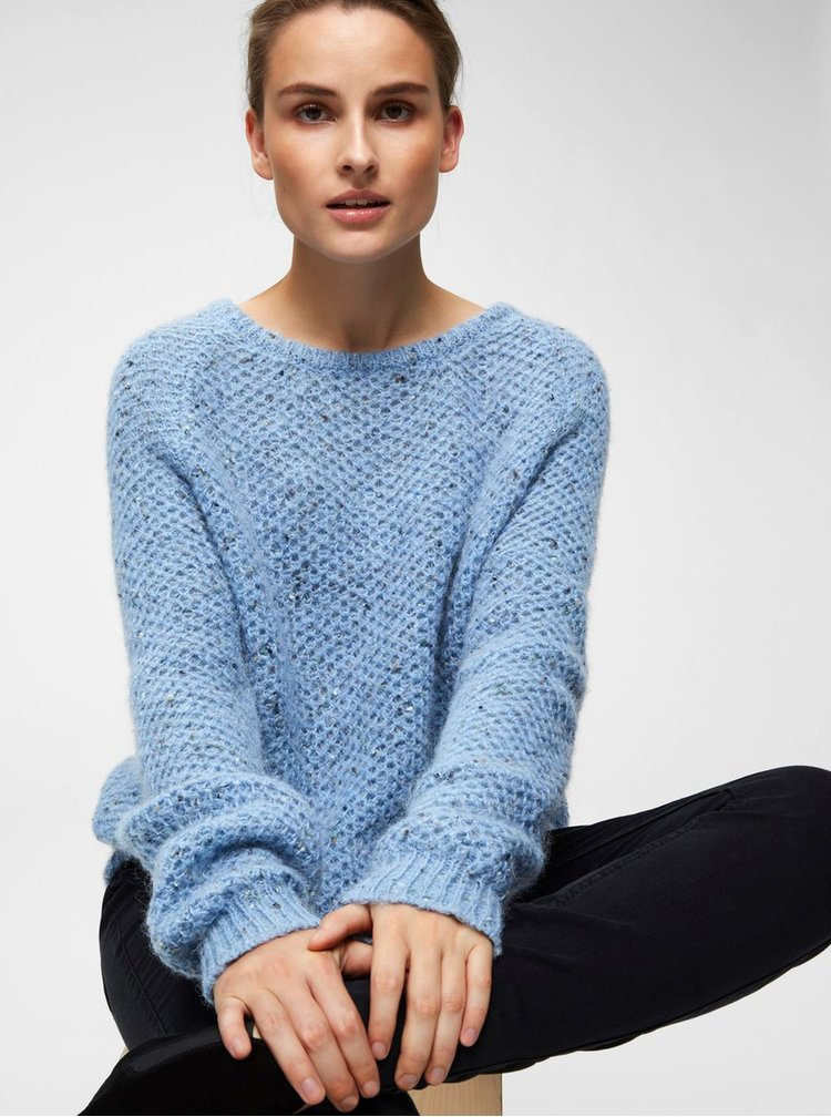 Pulover albastru deschis melanj cu amestec de lana Selected Femme Mallorca