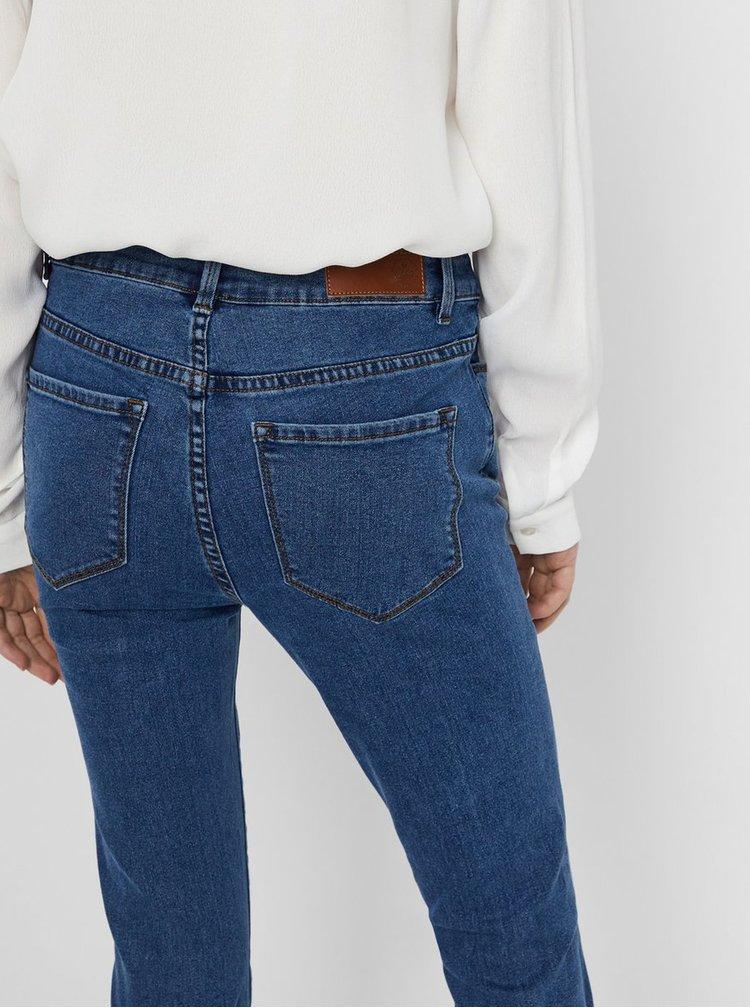 Modré slim džíny se zipem na nohavicích VERO MODA Hot