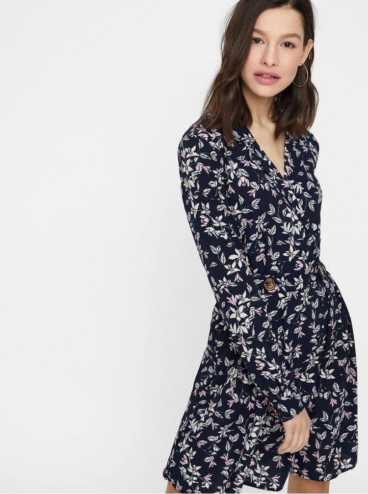 Tmavě modré květované šaty VERO MODA Viola