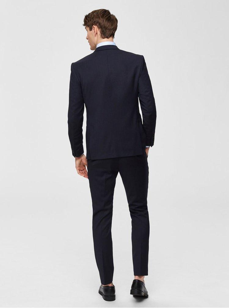 Tmavě modré oblekové slim sako s příměsí vlny Selected Homme Lobill