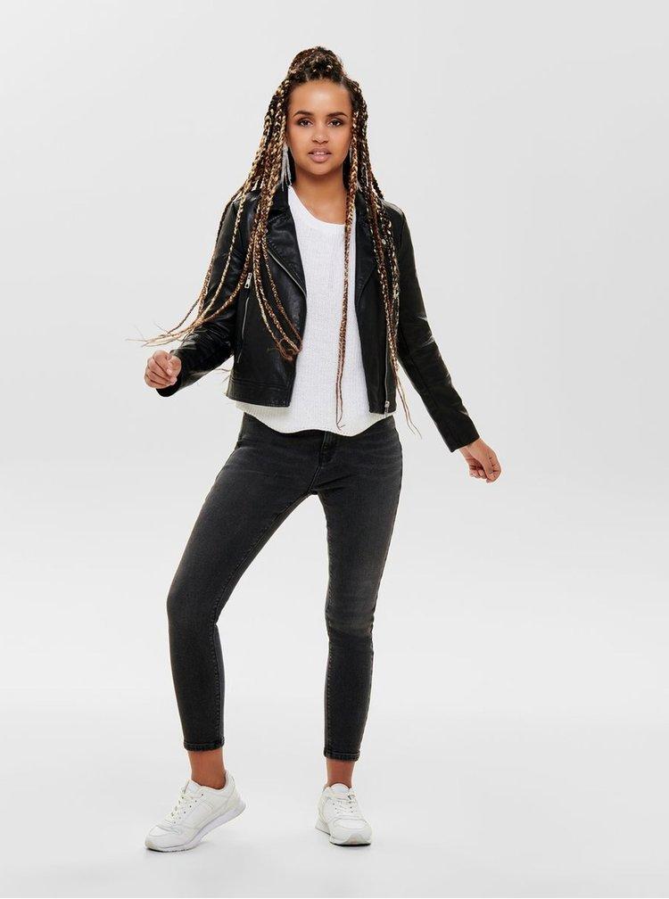 Čierna koženková bunda Jacqueline de Yong Ilde