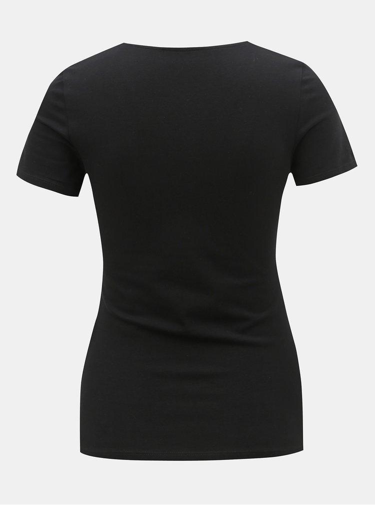 Tricou negru cu barete pe decolteu TALLY WEiJL Libro