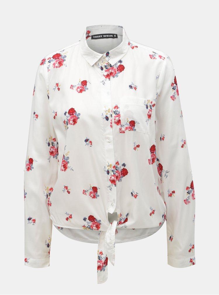 Bílá květovaná košile s uzlem TALLY WEiJL Viforu