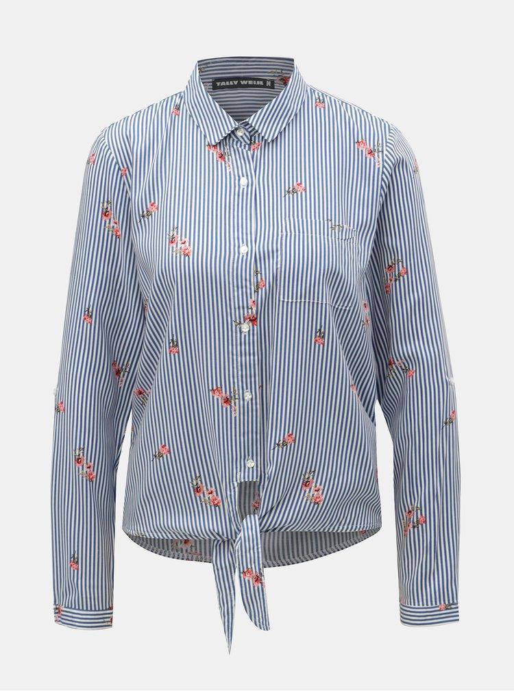 Bielo–modrá pruhovaná košeľa s uzlom TALLY WEiJL Viforu