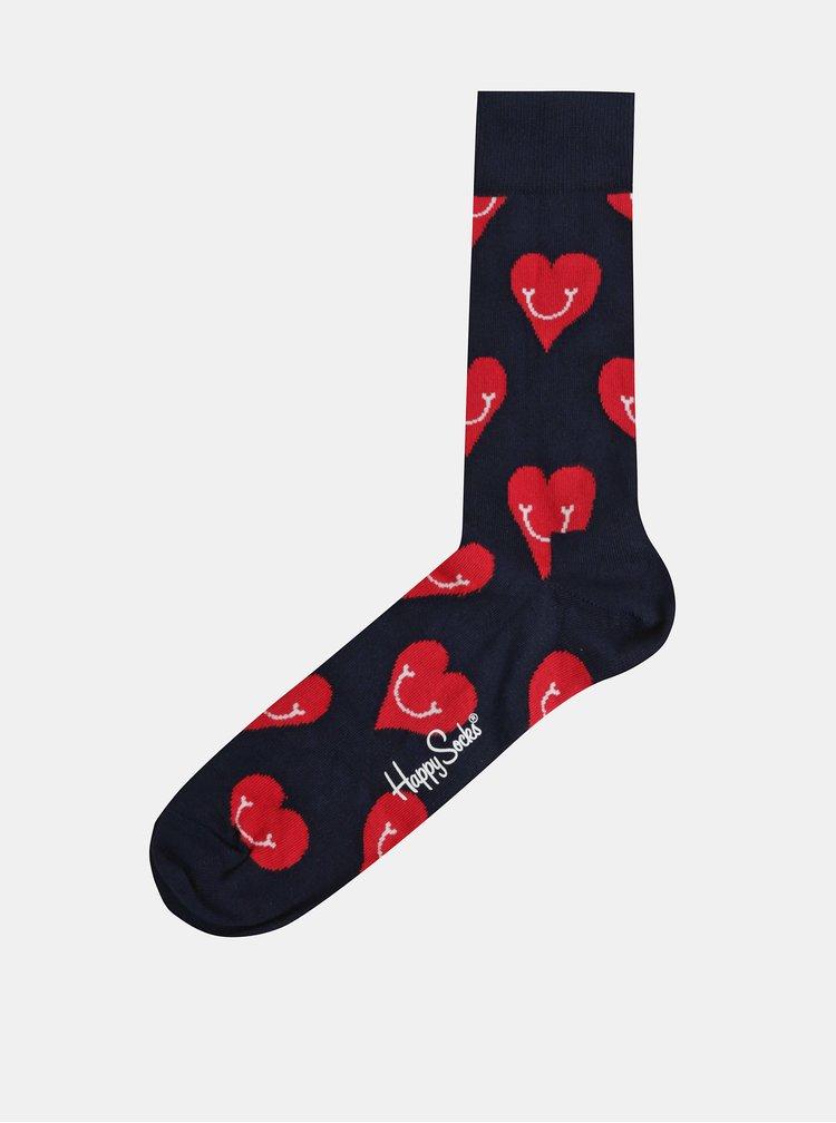 Tmavě modré ponožky s motivem srdíček Happy Socks Smiley Heart
