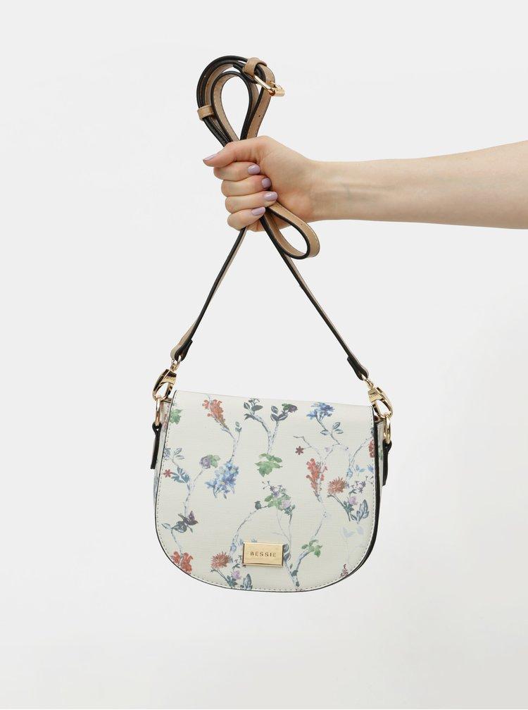 Krémová květovaná crossbody kabelka Bessie London
