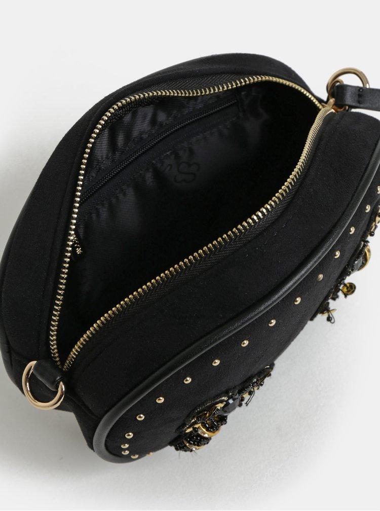 Černá ledvinka/crossbody kabelka v semišové úpravě Bessie London
