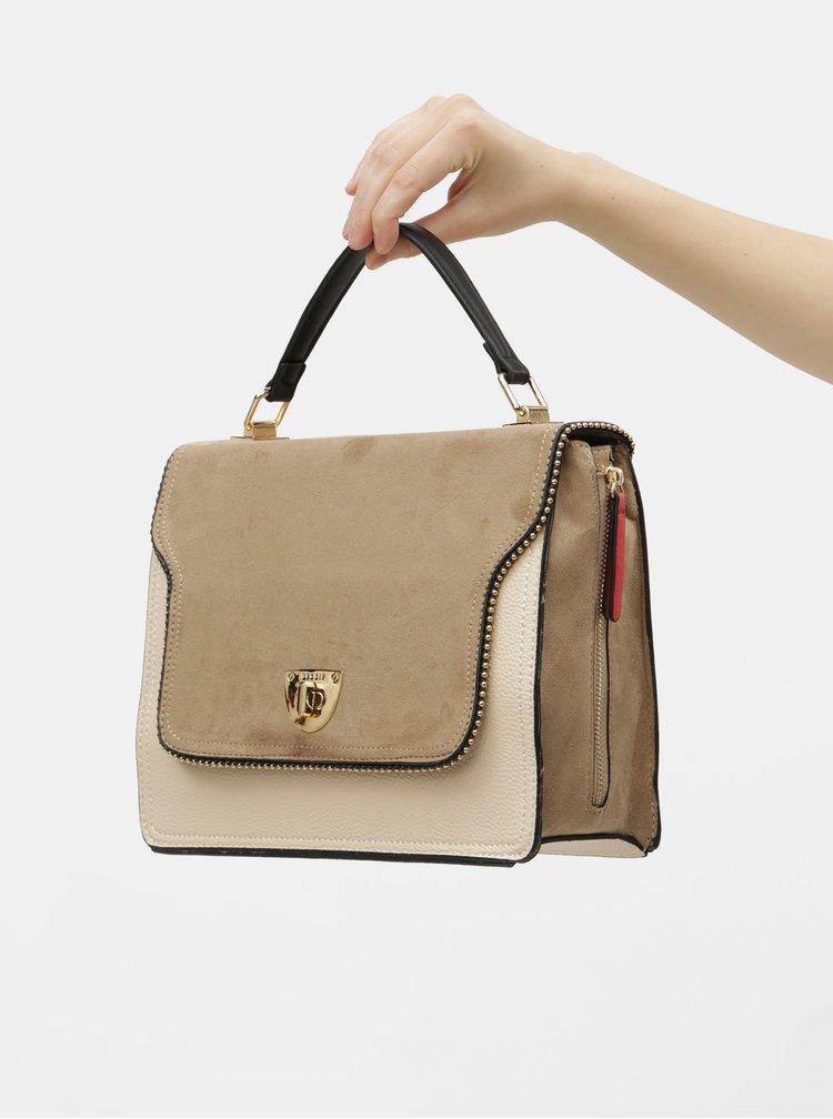 Hnědo-béžová kabelka s detaily v semišové úpravě Bessie London