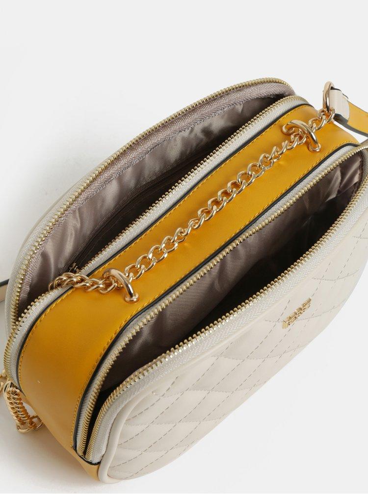 Krémová prošívaná crossbody kabelka Bessie London