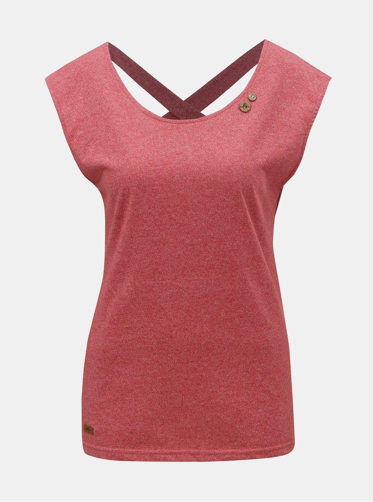 Červené dámské žíhané tričko s pásky na zádech Ragwear Sofia
