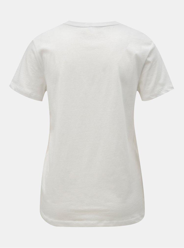 Biele tričko s výšivkou ONLY Lelia